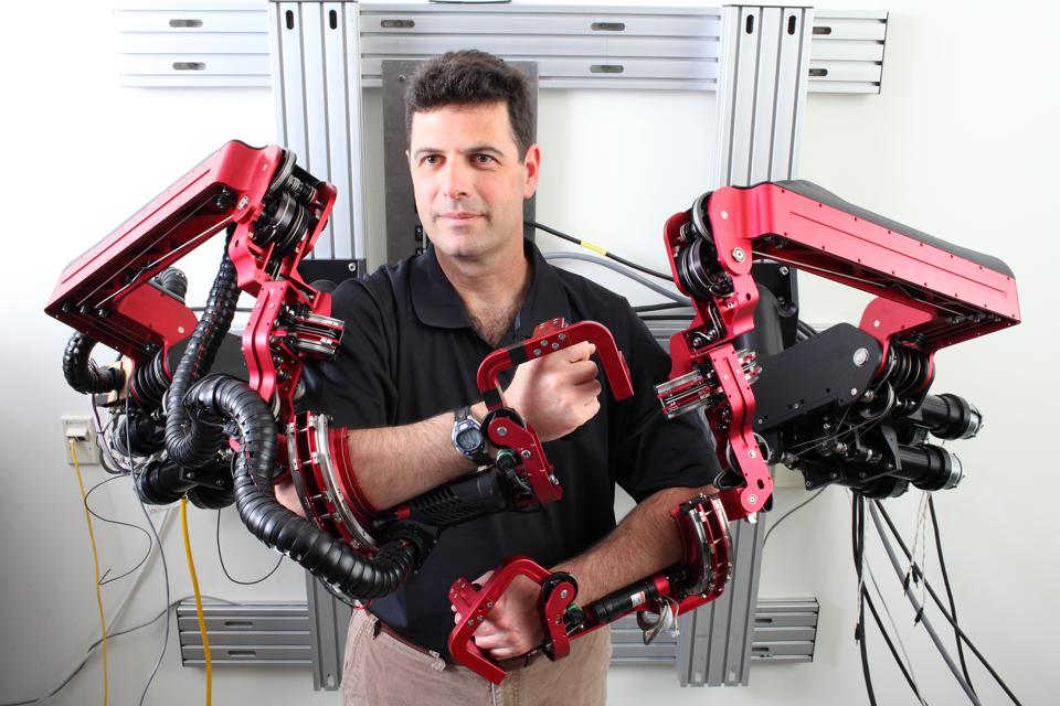 Computer engineer Jacob Rosen of the University of California Santa Cruz invented a robotic exoskeleton that dramatically speeds up recovery times for stroke victims who have lost movement in their arms.
