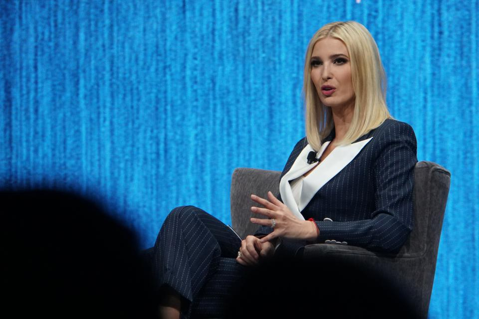 Ivanka Trump, daughter of U.S. President Donald Trump, speaks at CES on Tuesday.