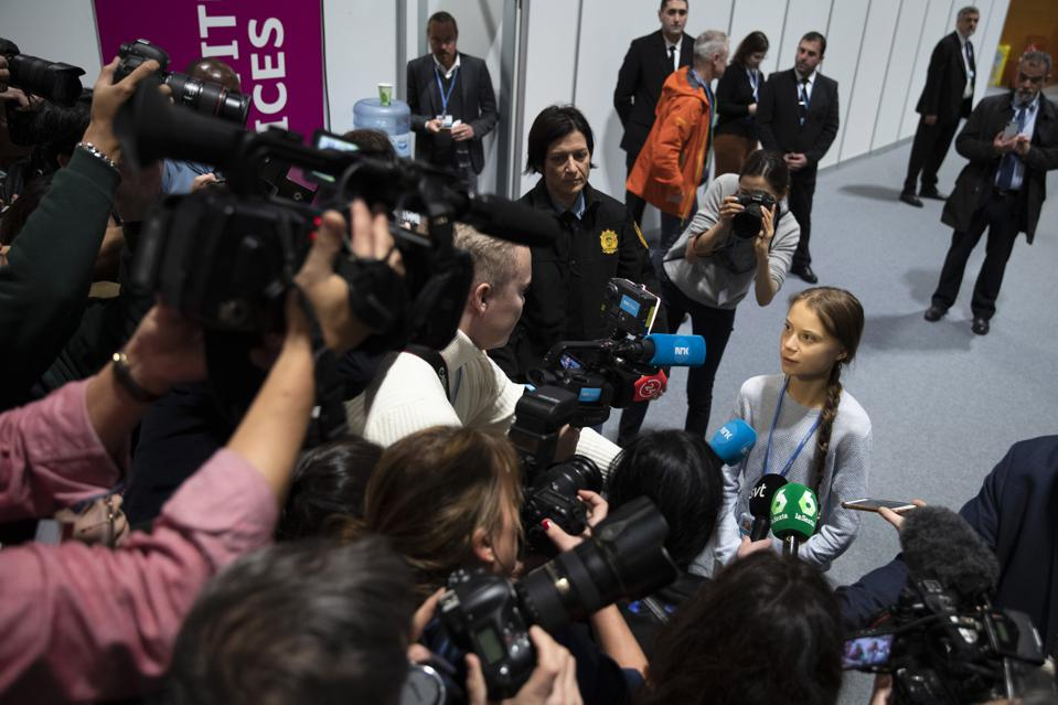 """Greta Thunberg speaks at COP25 about the """"Friday for the future"""" movement."""