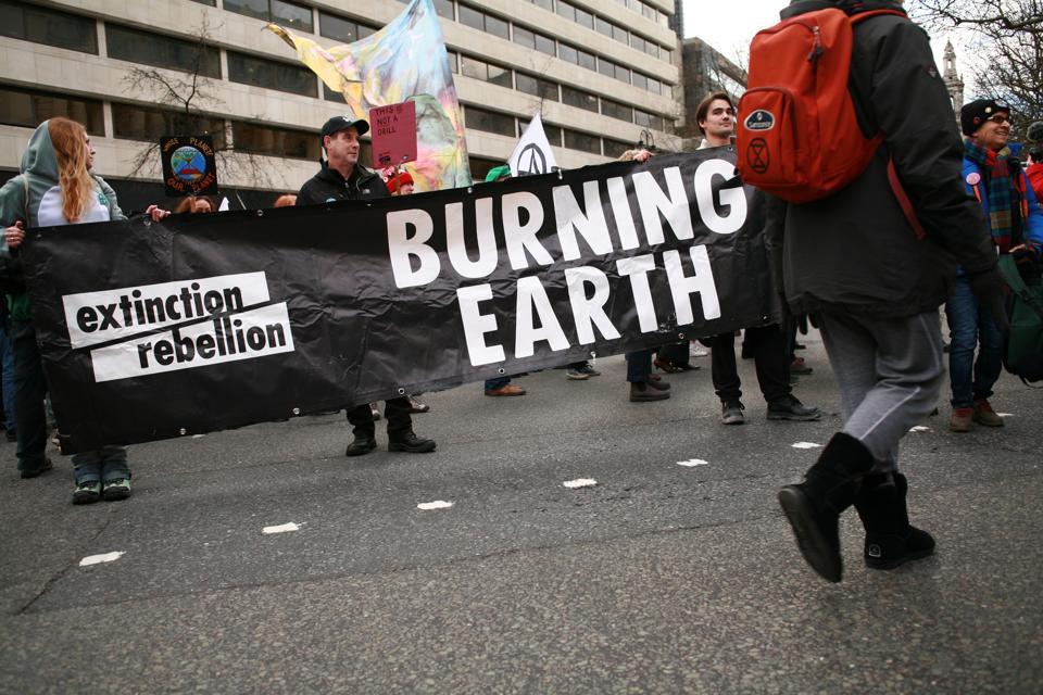Extinction Rebellion Protest Against Bushfires Outside Australian Embassy In London