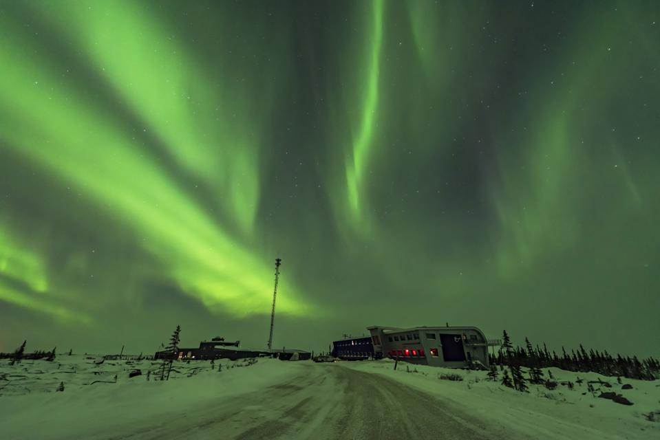 Aurora and Cassiopeia over the Churchill Northern Studies Centre in Canada.
