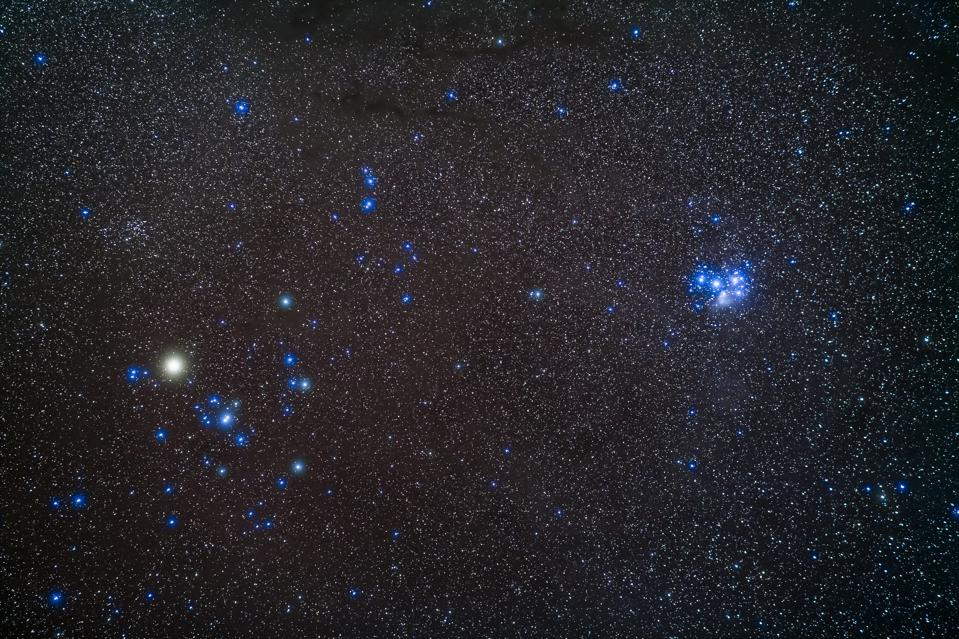 Open star clusters Hyades (left) and Pleiades (right), in the constellation of Taurus.