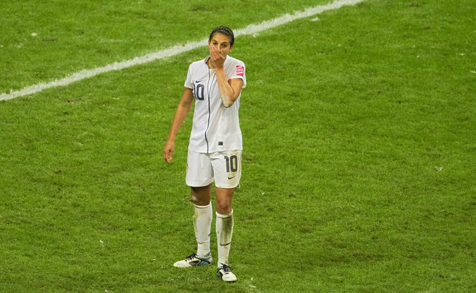USA's midfielder Carli Lloyd reacts afte