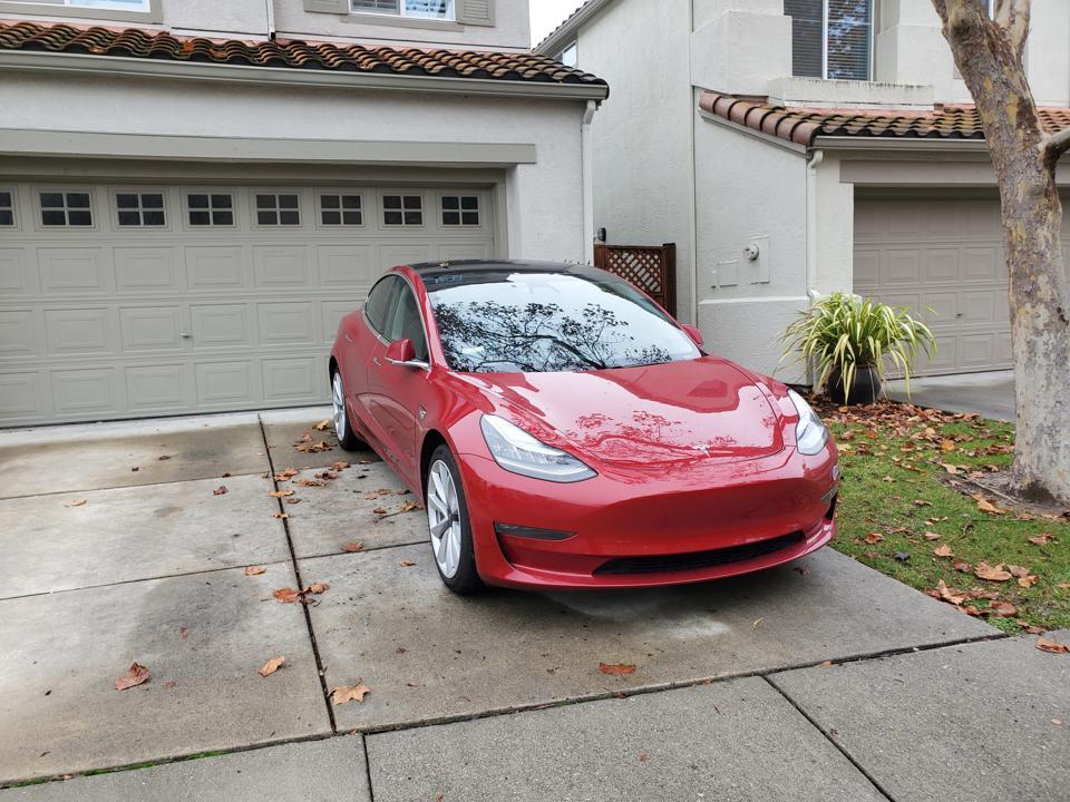 Tesla Model 3 In Driveway