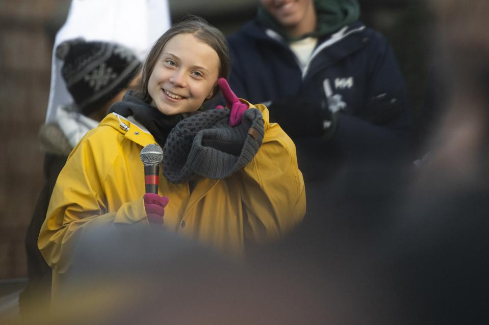 Greta Thunberg attends a Fridays For Future strike in Turin.