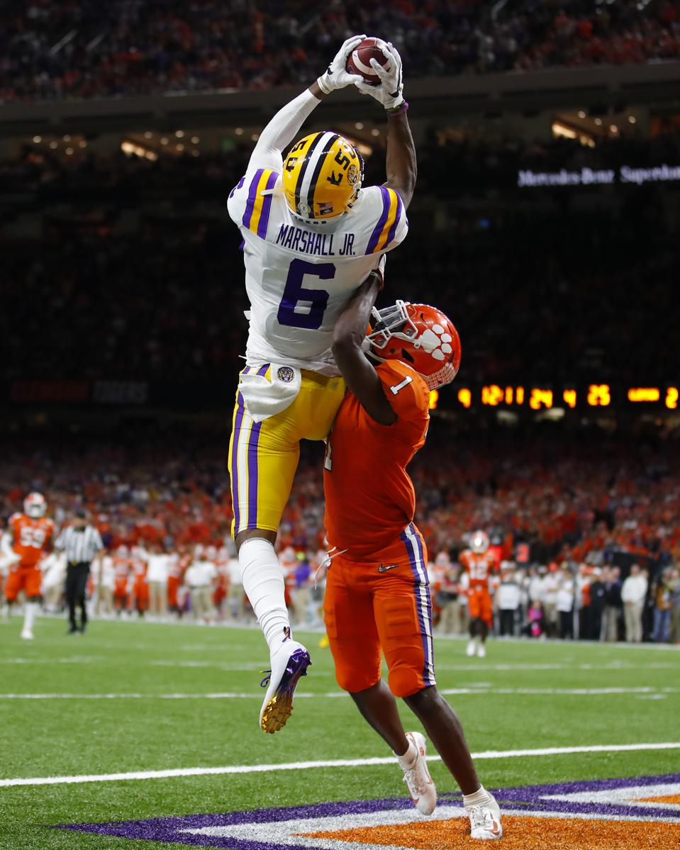 LSU Tigers wide receiver Terrace Marshall Jr. touchdown reception.