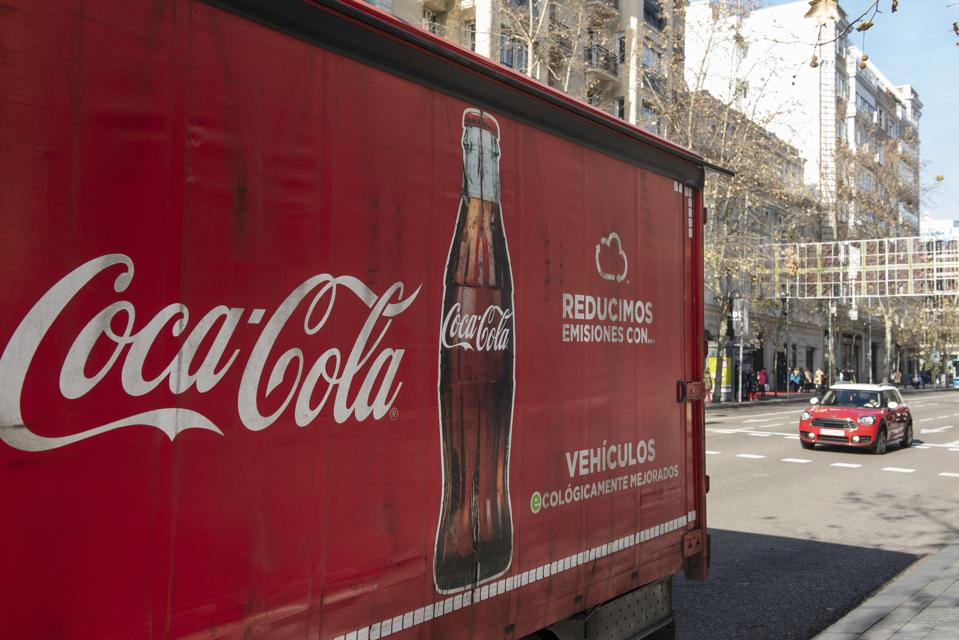 American soft drink brand Coca-Cola logo displayed at a...