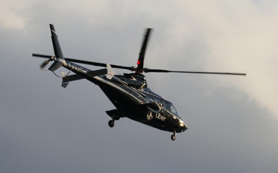 An Uber Helicopter Takes Off From a Heliport in Lower Manhattan