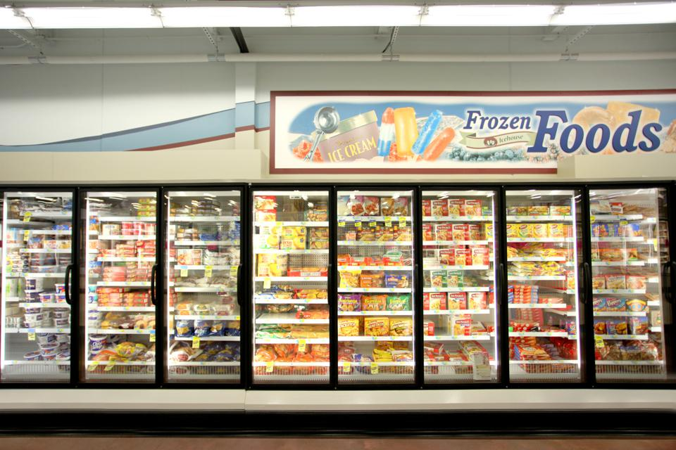 The frozen food department of an Iowa grocery store.