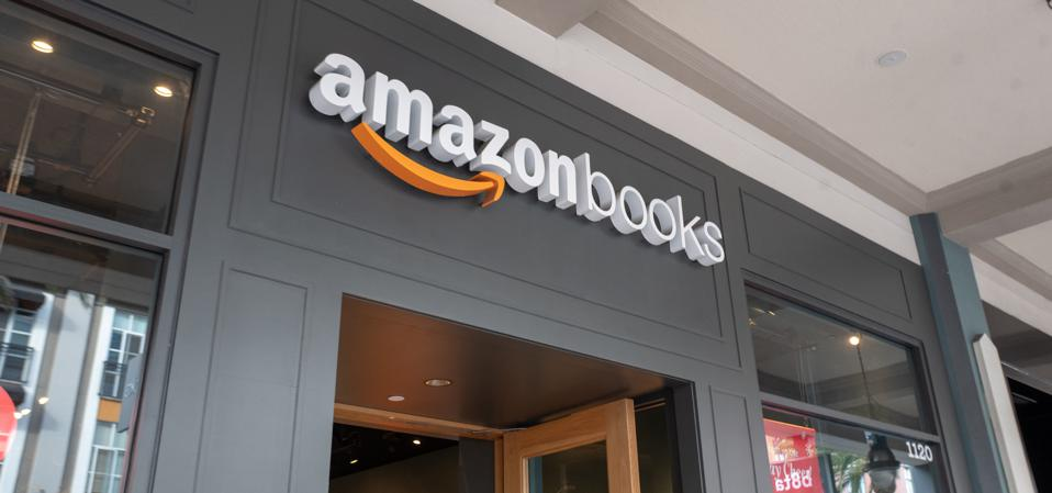 A facade with sign at the Amazon Books retail store on Santana Row in the Silicon Valley, San Jose, California, December 14, 2019.