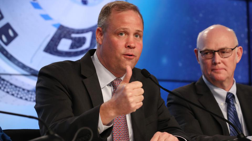 Jim Bridenstine, NASA Administrator, and Tory Bruno, President and CEO, United Launch Alliance, speak to the media after the Boeing Starliner incident on December 20, 2019 in Cape Canaveral, Florida. (Photo by Joe Raedle/Getty Images)