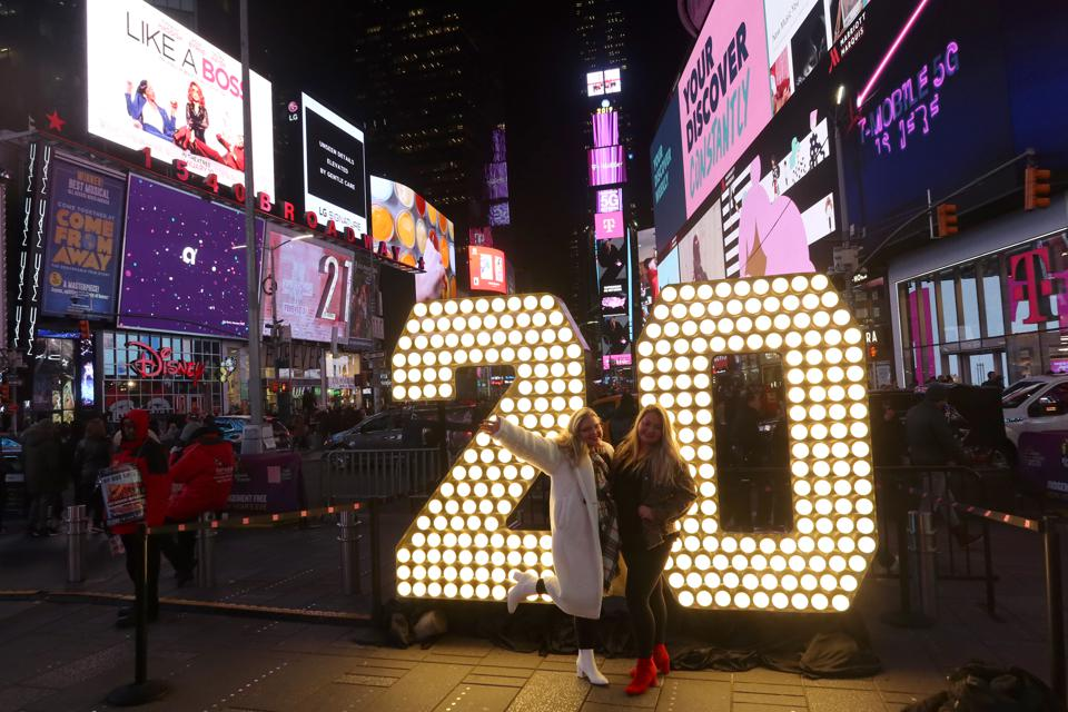 2020 Sign in Times Square in New York City