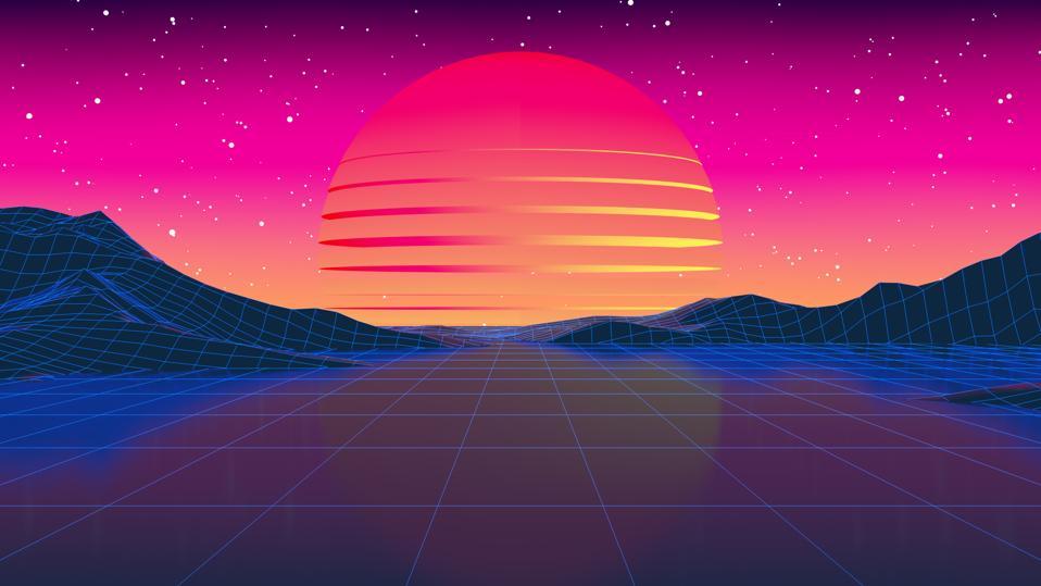 80s Retro Sci-Fi Futuristic Landscape Background, low poly modeling, galaxy, nebula.