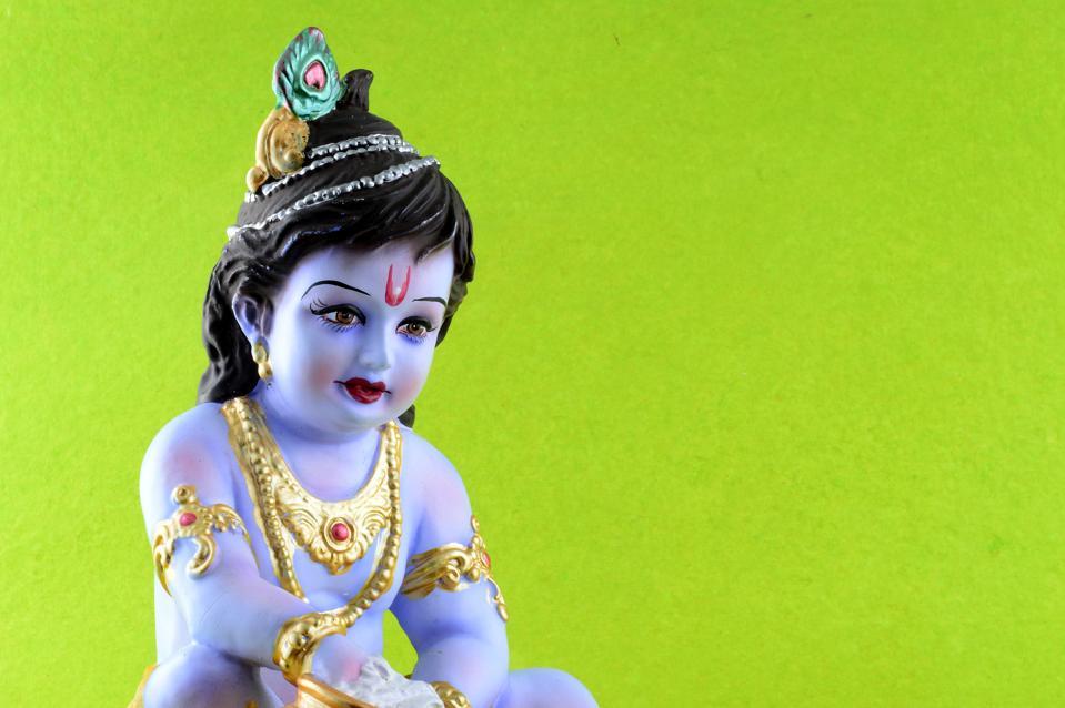 Hindu tanrısı Krishna yeşil zemin üzerine