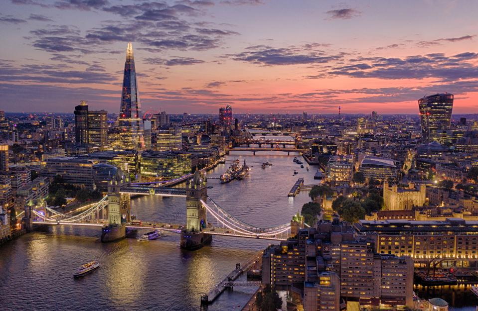 Aerial view of London at Twilight