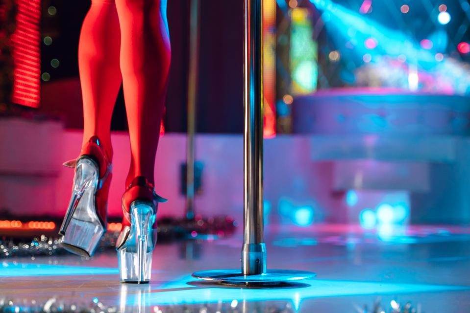 A stripper on the stage.