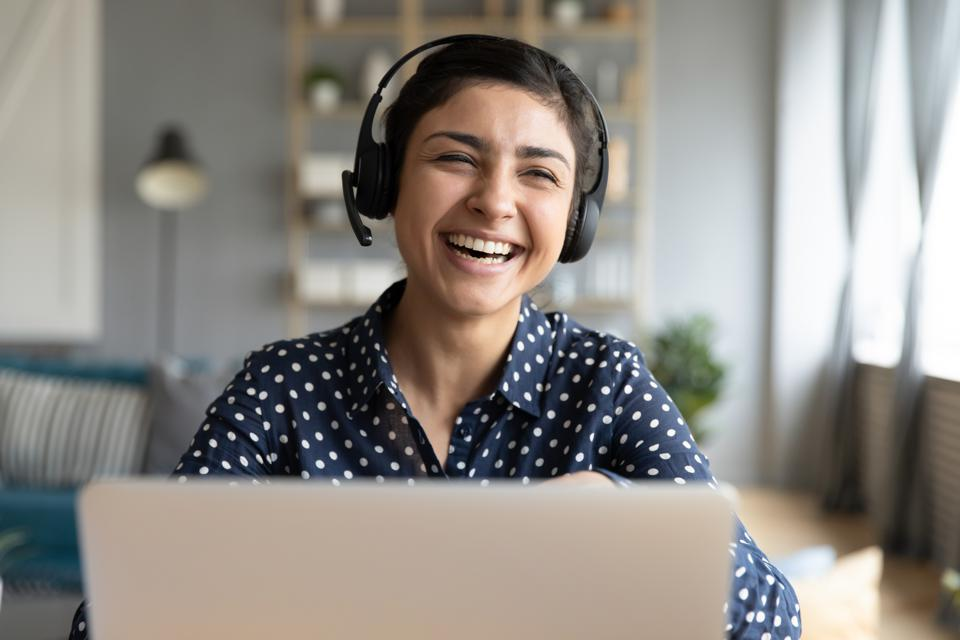 Woman wearing wireless headset