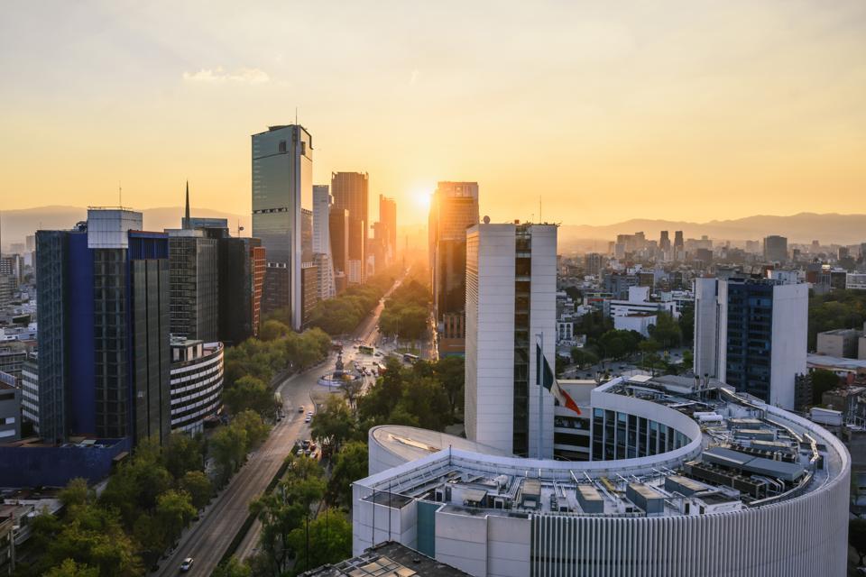 Scenic view over skyscrapers and Paseo de la Reforma, Mexico City, Mexico
