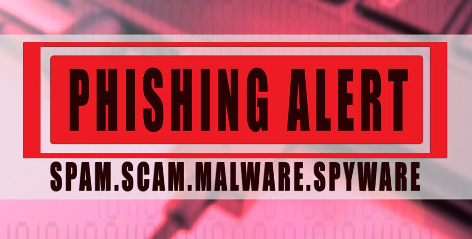 PHISHING ALERT: SCAM,SCAM,MALWARE,SPYWARE CONCEPTUAL with laptop background.