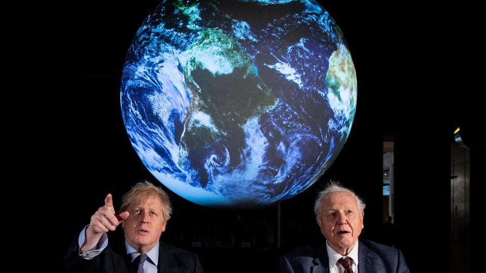 Boris Johnson and David Attenborough launch UN Climate Change Conference.