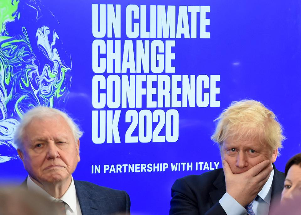 David Attenborough and Boris Johnson at an event launching the UN climate conference COP26