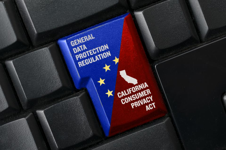 GDPR and CCPA concept: a black keyword with a key with text general data protection regulation and  california consumer privacy act.