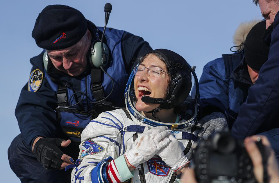 NASA astronaut Christina Koch reacts shortly after landing in a remote area of Kazakhstan, after 11 months in space. She had originally been scheduled to spend only 6 months aboard the ISS