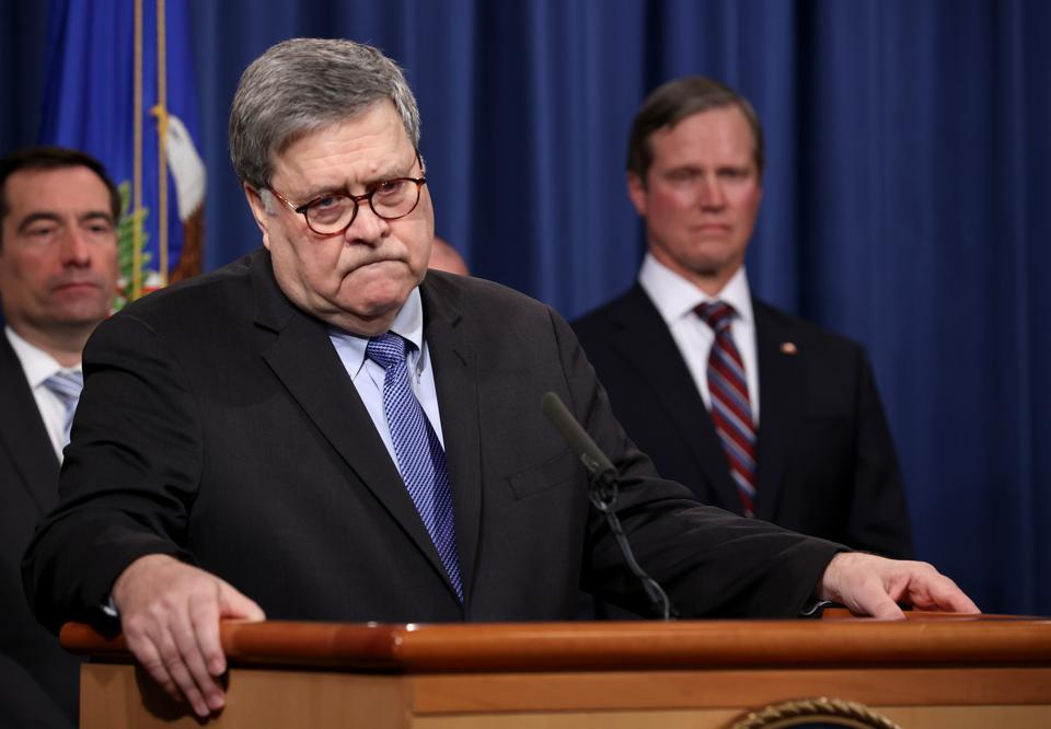 U.S. attorney general Bill Barr speaks during Monday a press conference on the shooting at the Pensacola naval base.