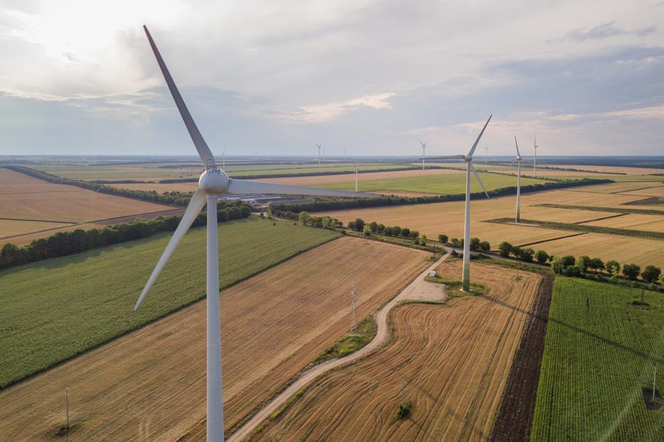 Aerial view of wind turbine generators