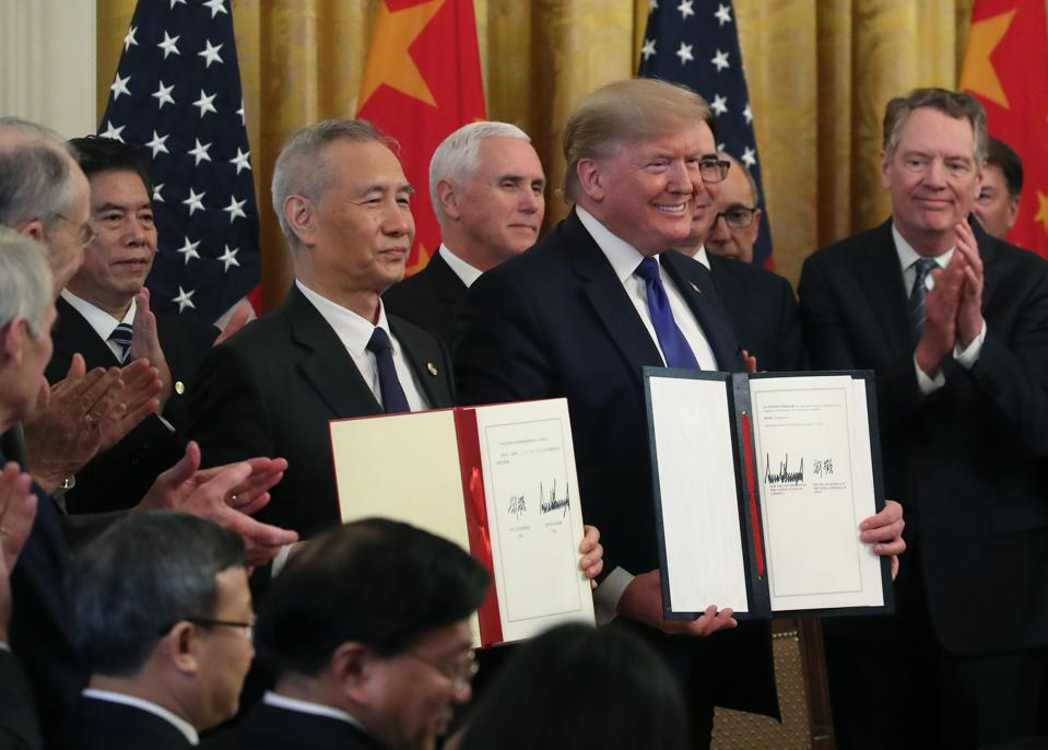 President Trump Participates In Signing Ceremony For Trade Deal With China