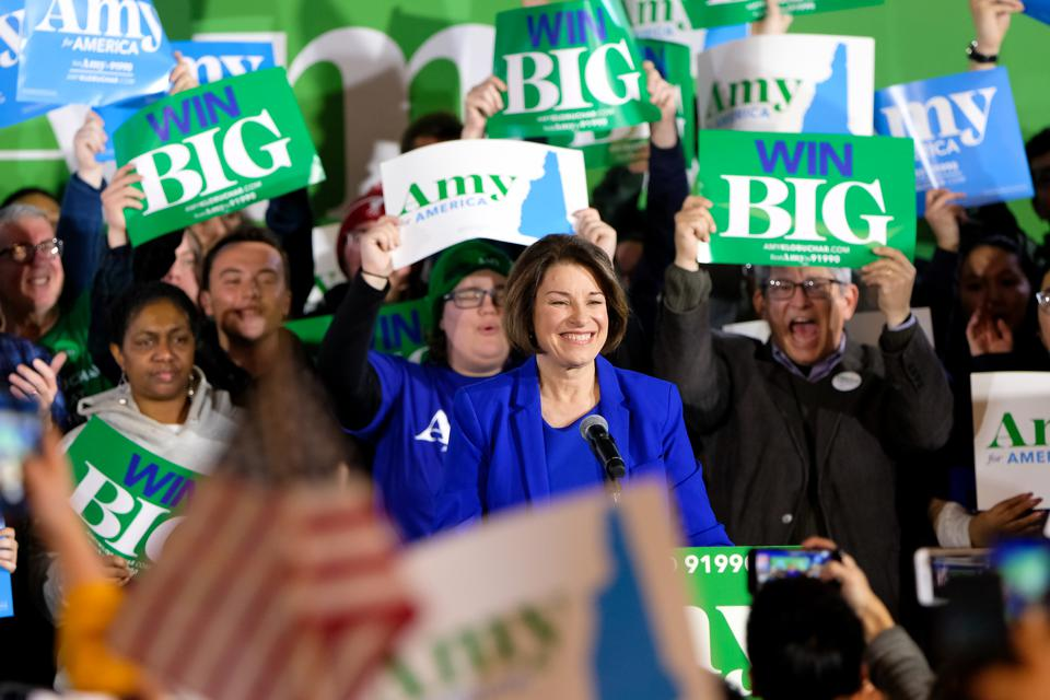 Amy Klobuchar celebrates with her supporters in Concord, US