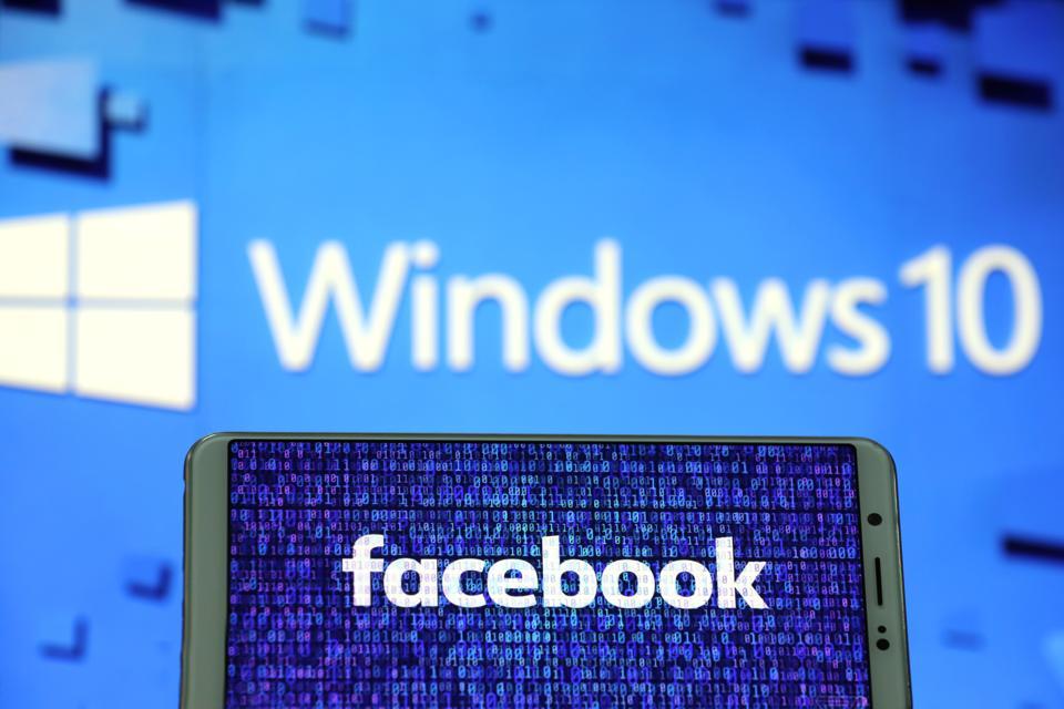 Facebook logo and Windows 10