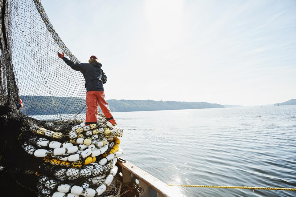 Female crew member of fishing boat stacking net on deck while fishing for salmon