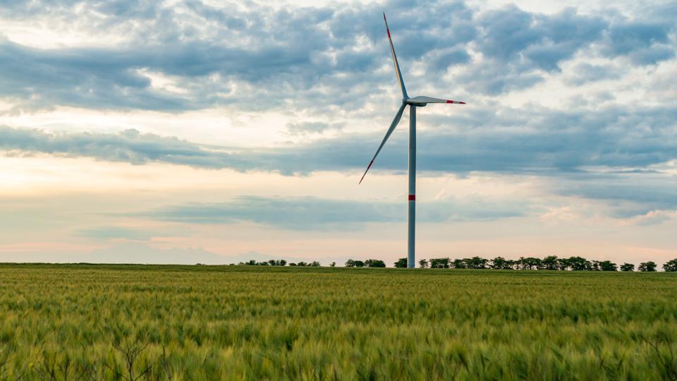 Wind turbine on prairie