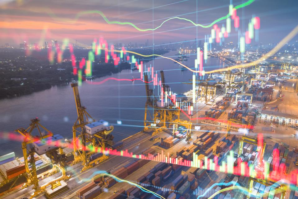 Logistics and import export with an overlay of the stock market