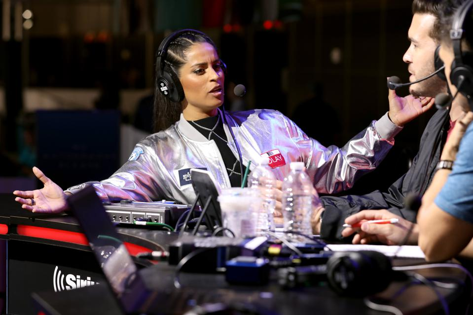 Lilly Singh with SiriusXM hosts at Day 1 of Super Bowl LIV week