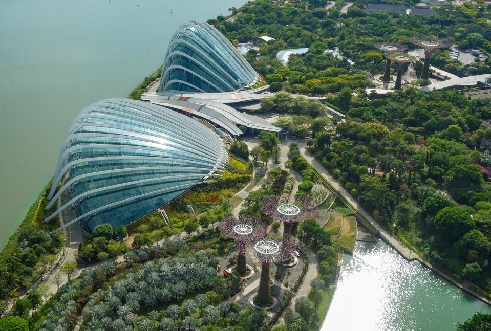 Singapore: View from Marina Bay Sands Hotel to the Garden by the Bay.