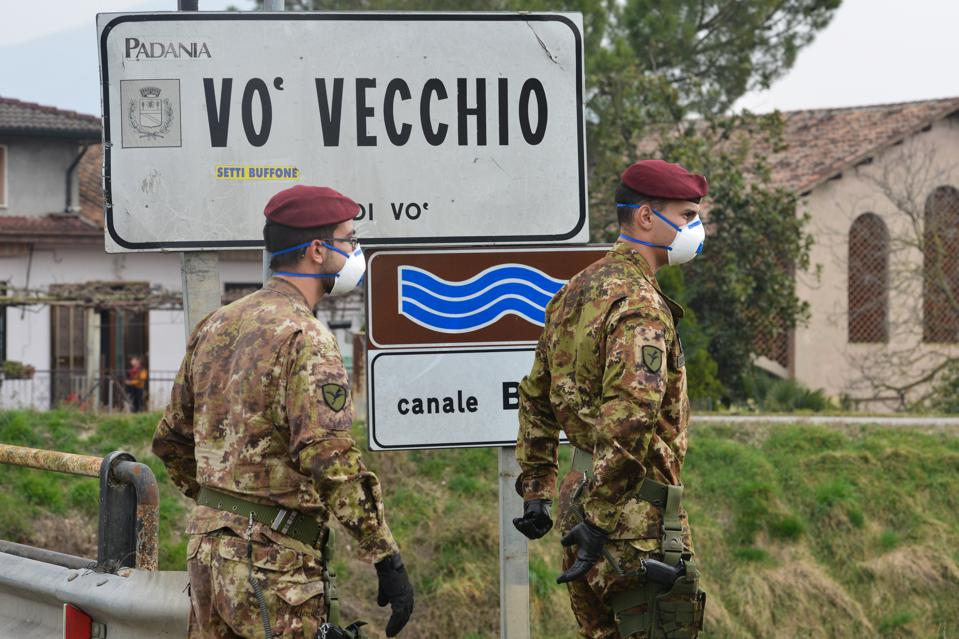 The small Italian town Vo Vecchio became the center point for Covid-19 outbreak in Italy.  Soldiers seen here patrolling on 24 February 2020.