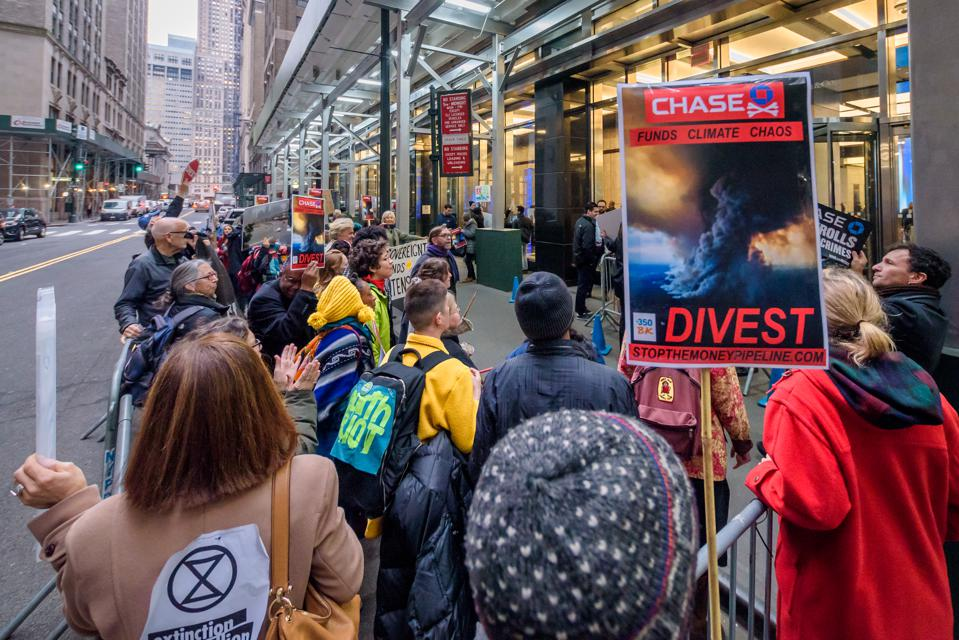 Protesters at the rally outside JP Morgan Headquarters. New...