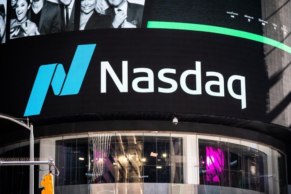 A logo of the Nasdaq Stock Market seen in Midtown Manhattan...