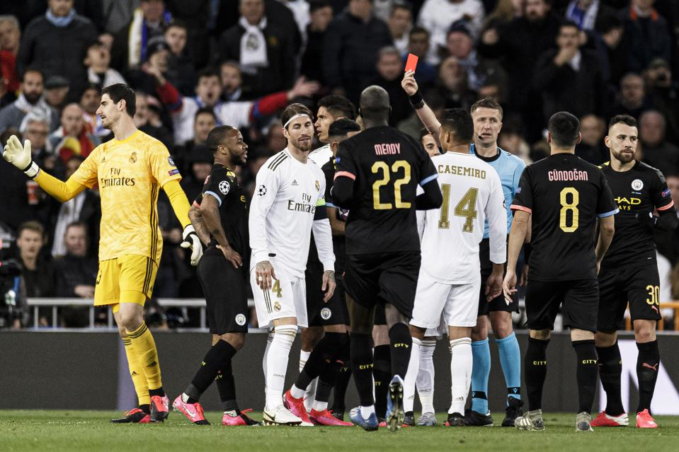 Sergio Ramos was sent off last night for Real Madrid against Manchester City.
