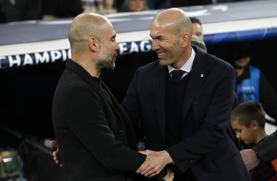 Real Madrid v Manchester City: UEFA Champions League - the two Head Coaches meet.