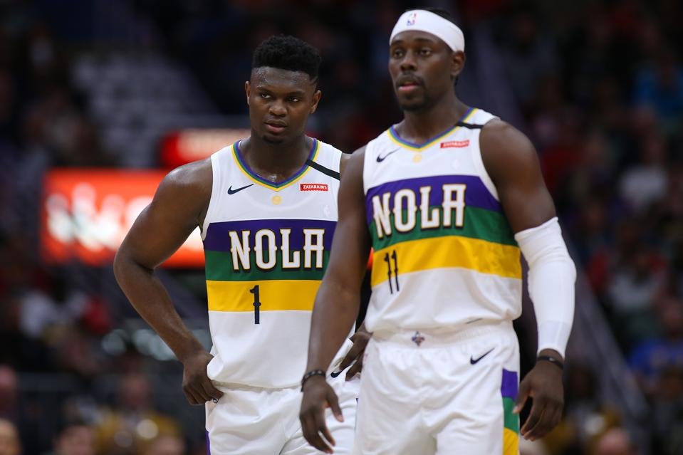 Milwaukee Bucks v New Orleans Pelicans. Jrue Holiday and Zion Williamson