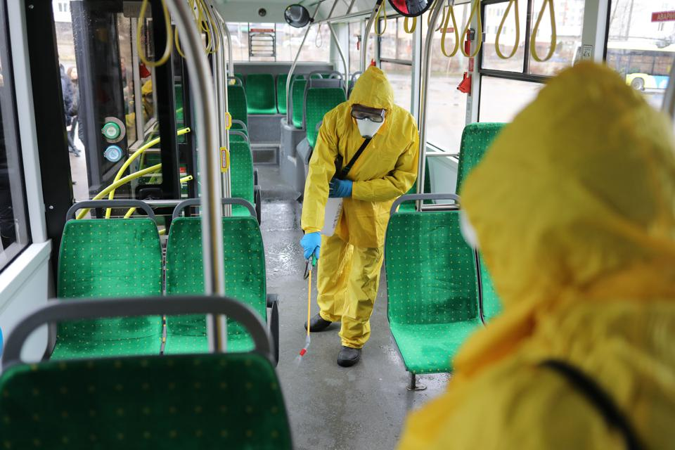 Public transport gets disinfected in Lviv