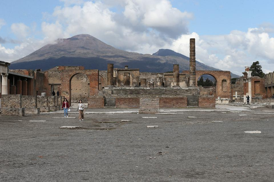 The main square of the Pompeii excavations, with very few...