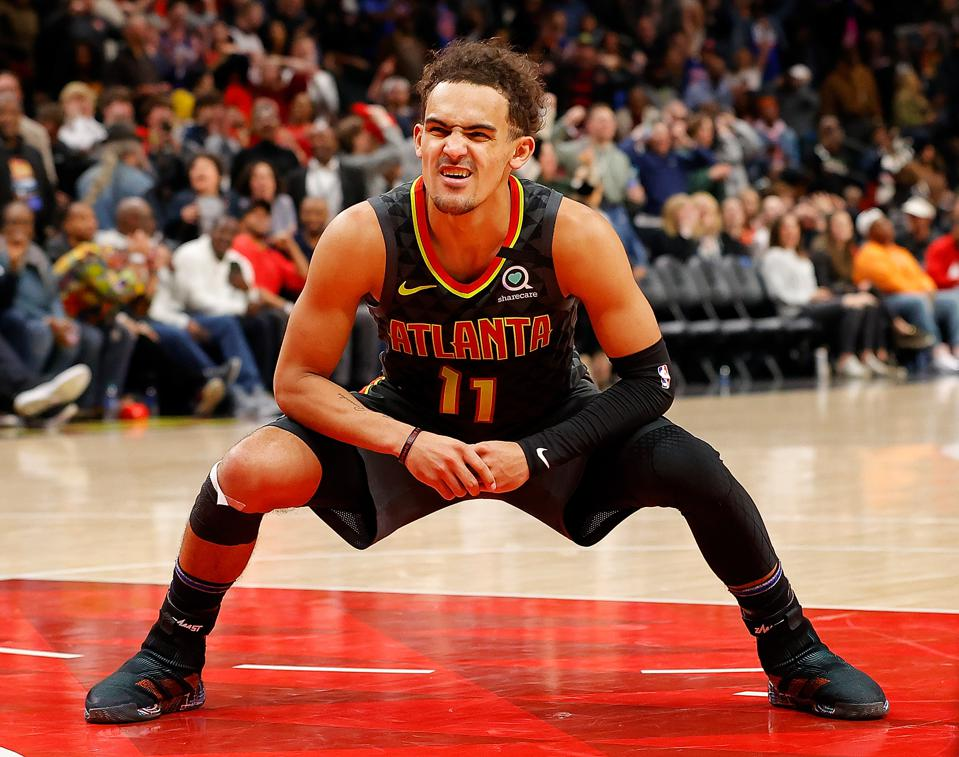 Trae Young reacts to a missed basket against New York Knicks