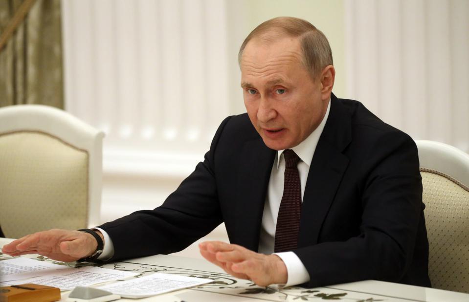 Russian President Vladimir Putin receives leaders of parliamentary parties at the Kremlin