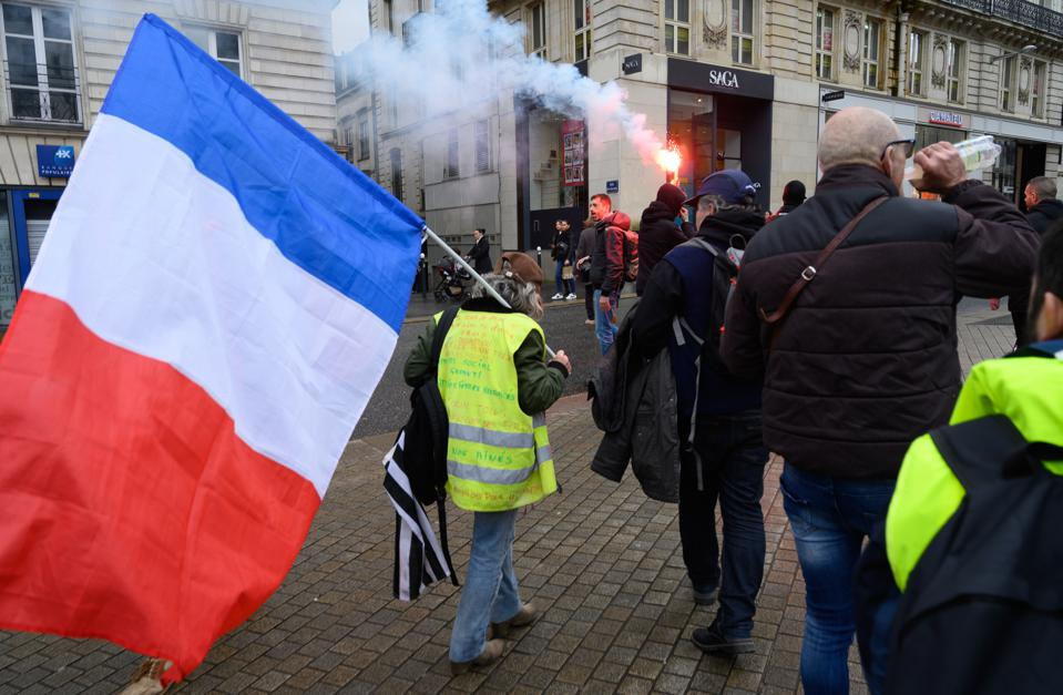 Week 63 of gilets jeunes protests in Nantes, France, on March 7, 2020 just before lockdown
