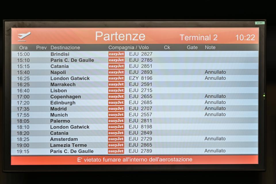 ITALY-HEALTH-VIRUS-Flights-Cancelled-Quarantine-Italy-Coronavirus