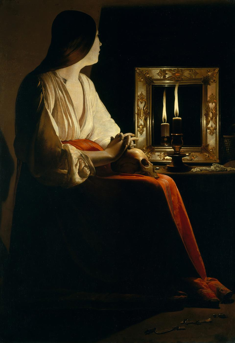 Penitent Magdalen painting by Georges de la tour Milan Palazzo Reale Milan Italy